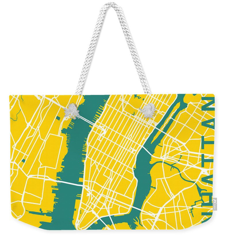 New York Weekender Tote Bag featuring the digital art Manhattan by Delphimages Photo Creations