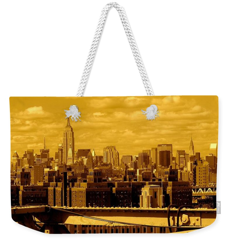 Manhattan Ny Prints Weekender Tote Bag featuring the photograph Manhattan Skyline by Monique's Fine Art