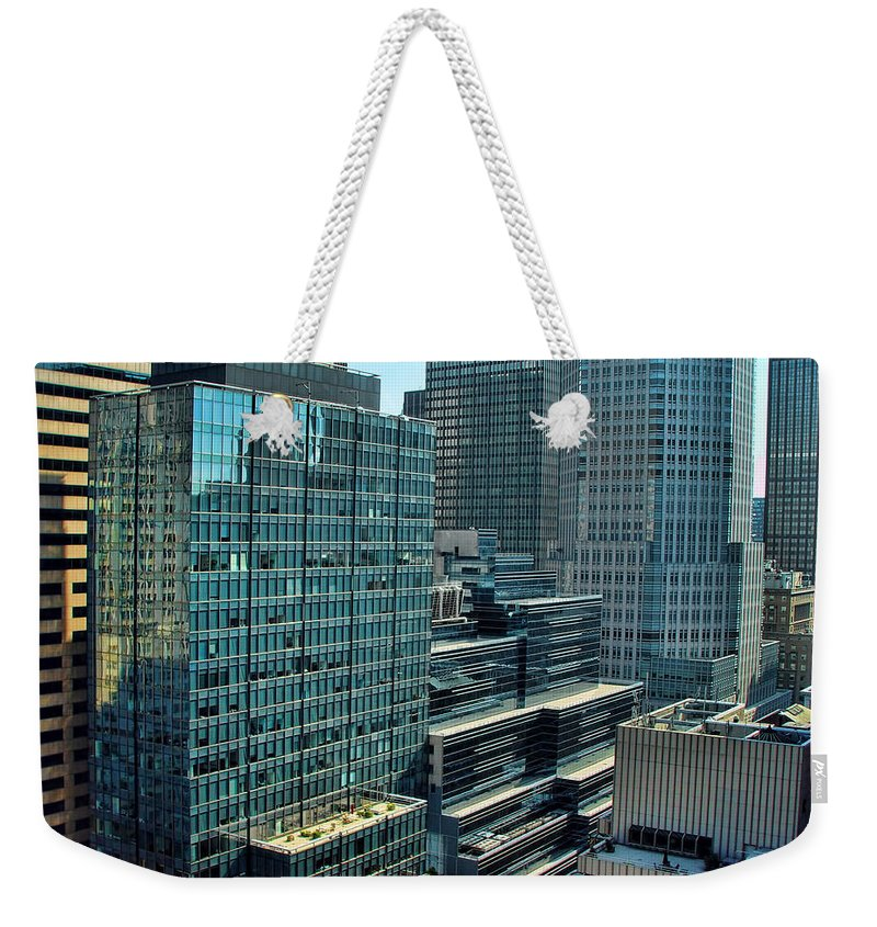 America Weekender Tote Bag featuring the photograph Manhattan Skyscrapers Labyrinth by New York