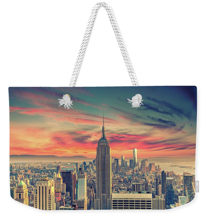 Panoramic Weekender Tote Bag featuring the photograph Manhattan by Zsolt Hlinka