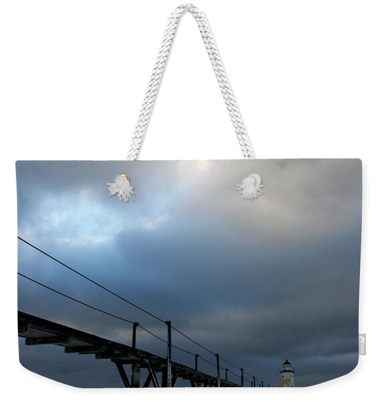 Manistee Weekender Tote Bag featuring the photograph Manistee Lighthouse 7 by Allan Lovell