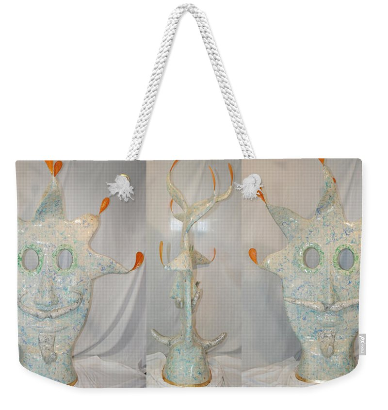 Jester Weekender Tote Bag featuring the sculpture Manitou The Jester by Ric Bascobert