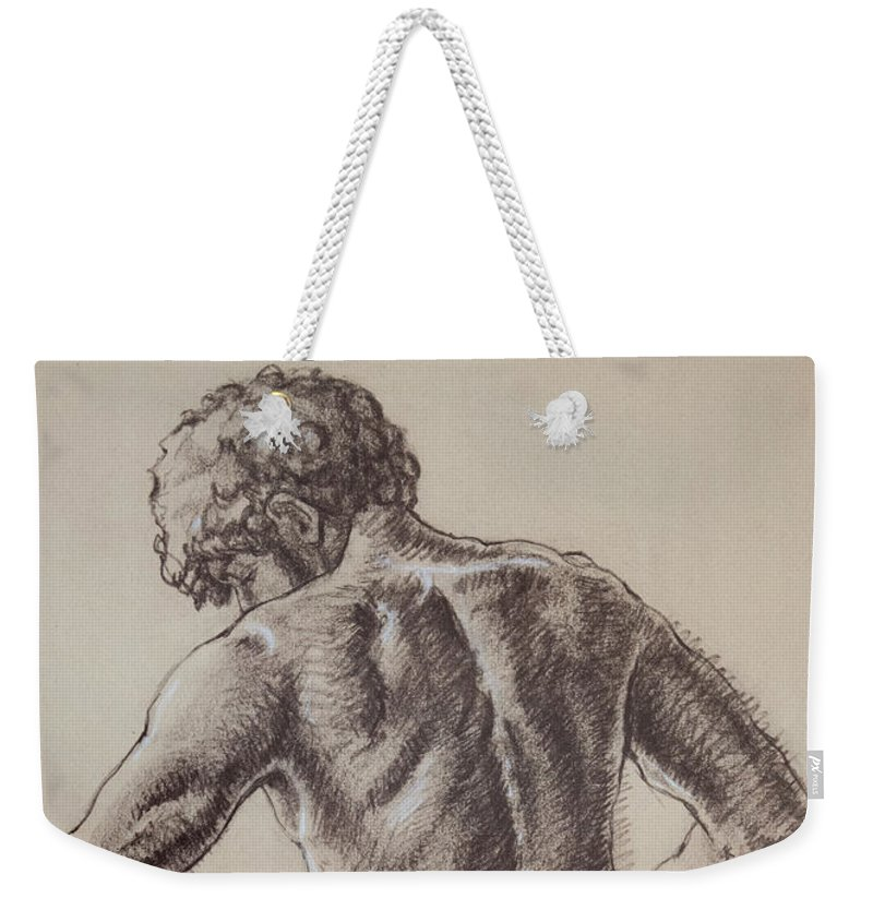 Figurative Weekender Tote Bag featuring the drawing Man's Back by Sarah Parks