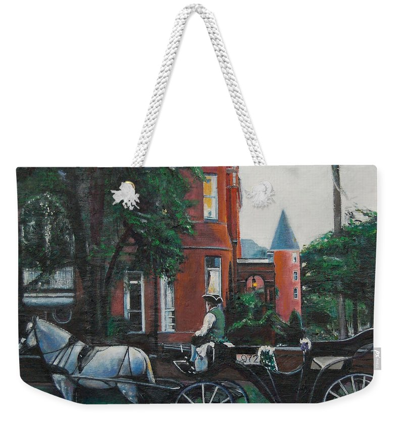 Weekender Tote Bag featuring the painting Mansion On Forsythe Savannah Georgia by Jude Darrien