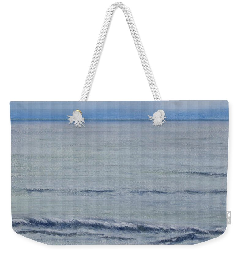 Seascape Weekender Tote Bag featuring the pastel Manx Mist by Stanza Widen