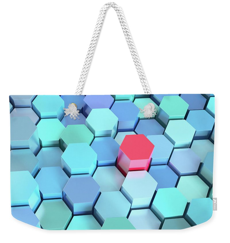 Grid Weekender Tote Bag featuring the photograph Many Blue Hexagons, Various Heights by Dimitri Otis