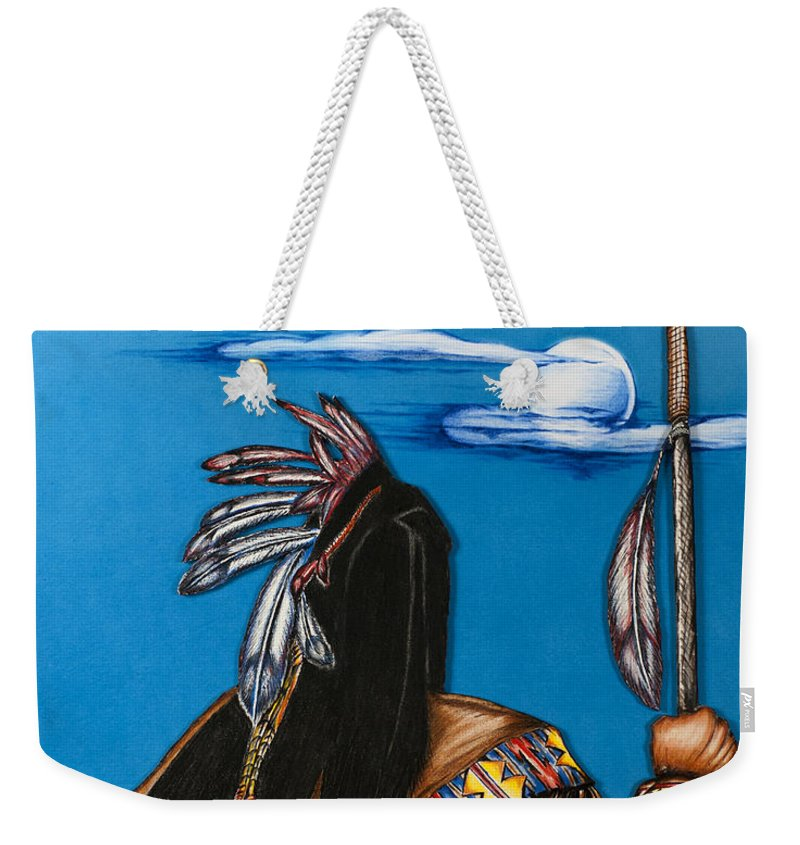 Native America Weekender Tote Bag featuring the mixed media Many Moons by Kem Himelright