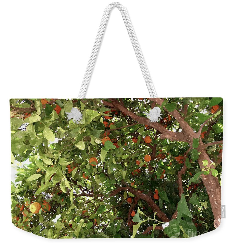 Agricultural Weekender Tote Bag featuring the painting Many Orange On Tree by Jeelan Clark