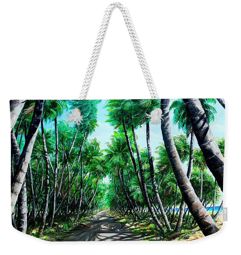 Coconut Trees Weekender Tote Bag featuring the painting Manzanilla Coconut Estate by Karin Dawn Kelshall- Best