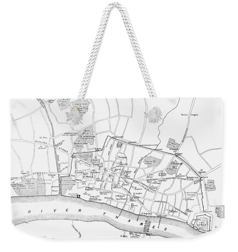 13th Century Weekender Tote Bag featuring the photograph Map: London, 13th Century by Granger