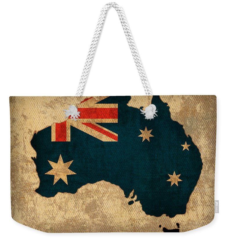 Map Of Australia With Flag Art On Distressed Worn Canvas Weekender Tote Bag featuring the mixed media Map Of Australia With Flag Art On Distressed Worn Canvas by Design Turnpike