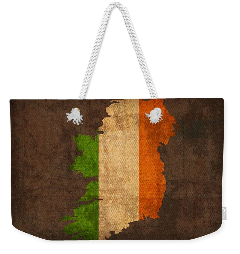 Map Of Ireland With Flag Art On Distressed Worn Canvas Weekender Tote Bag featuring the mixed media Map Of Ireland With Flag Art On Distressed Worn Canvas by Design Turnpike