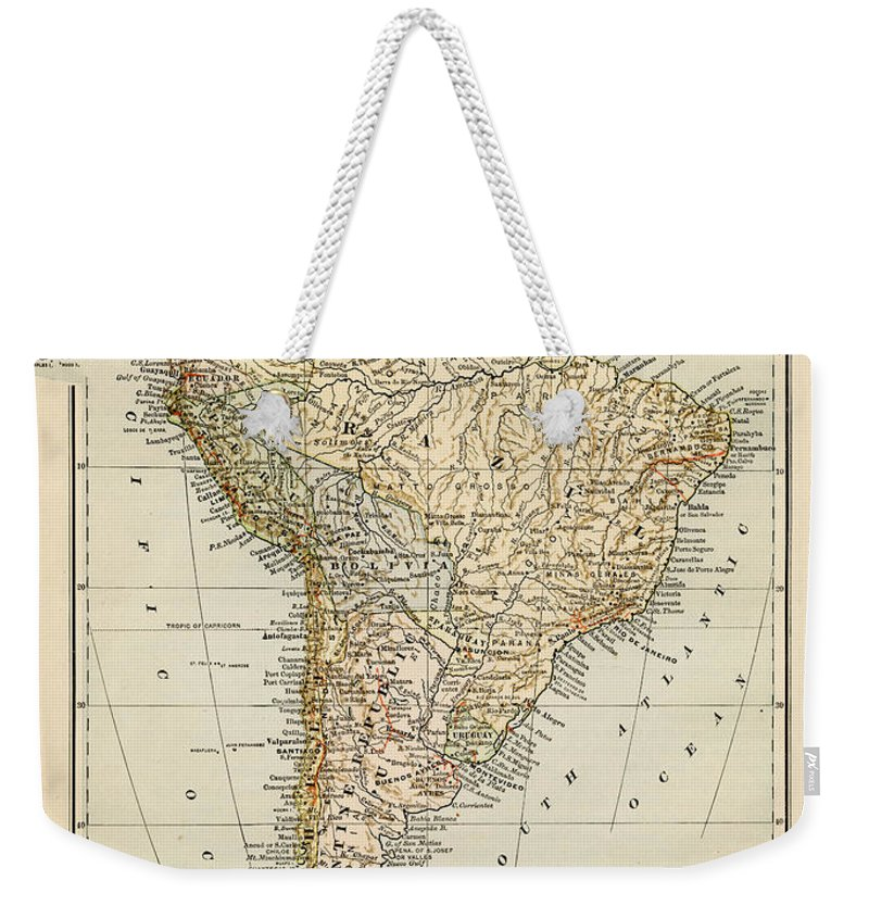 Burnt Weekender Tote Bag featuring the photograph Map Of South America 1875 by Thepalmer