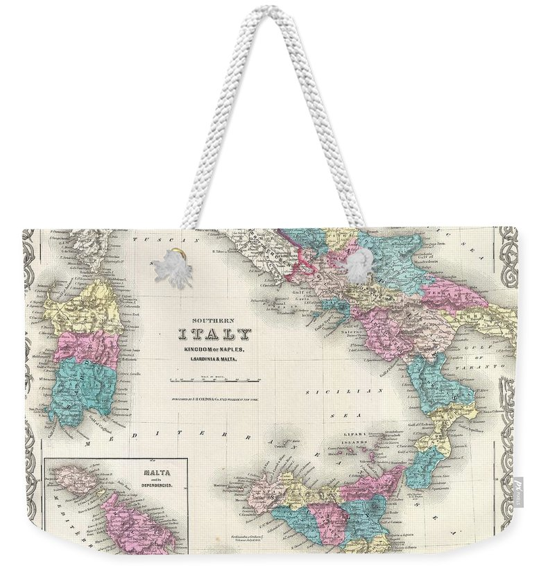 Weekender Tote Bag featuring the photograph Map Of Southern Italy Sicily Sardinia And Malta by Paul Fearn
