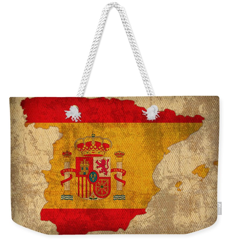 Map Of Spain With Flag Art On Distressed Worn Canvas Weekender Tote Bag featuring the mixed media Map Of Spain With Flag Art On Distressed Worn Canvas by Design Turnpike