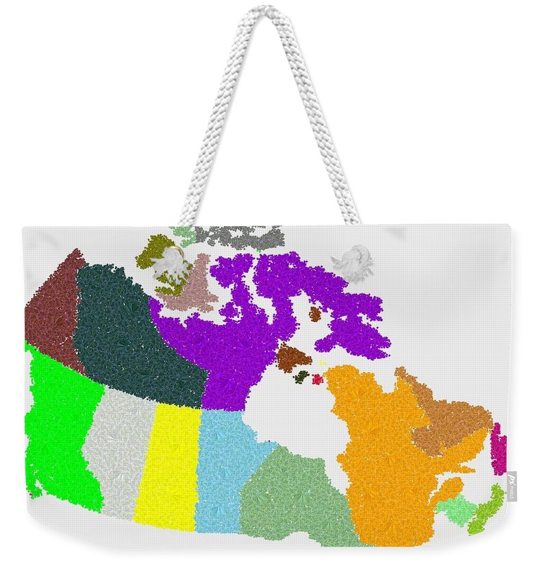 Maple Weekender Tote Bag featuring the digital art Maple Leaves Map Of Canada by Samuel Majcen