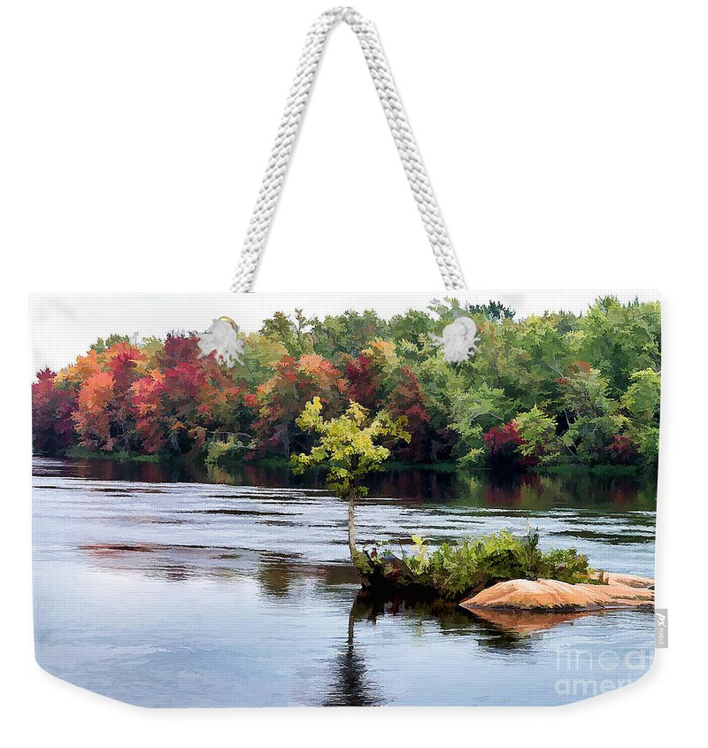 Small Weekender Tote Bag featuring the photograph Maple Tree On A Rocky Island - V2 by Les Palenik