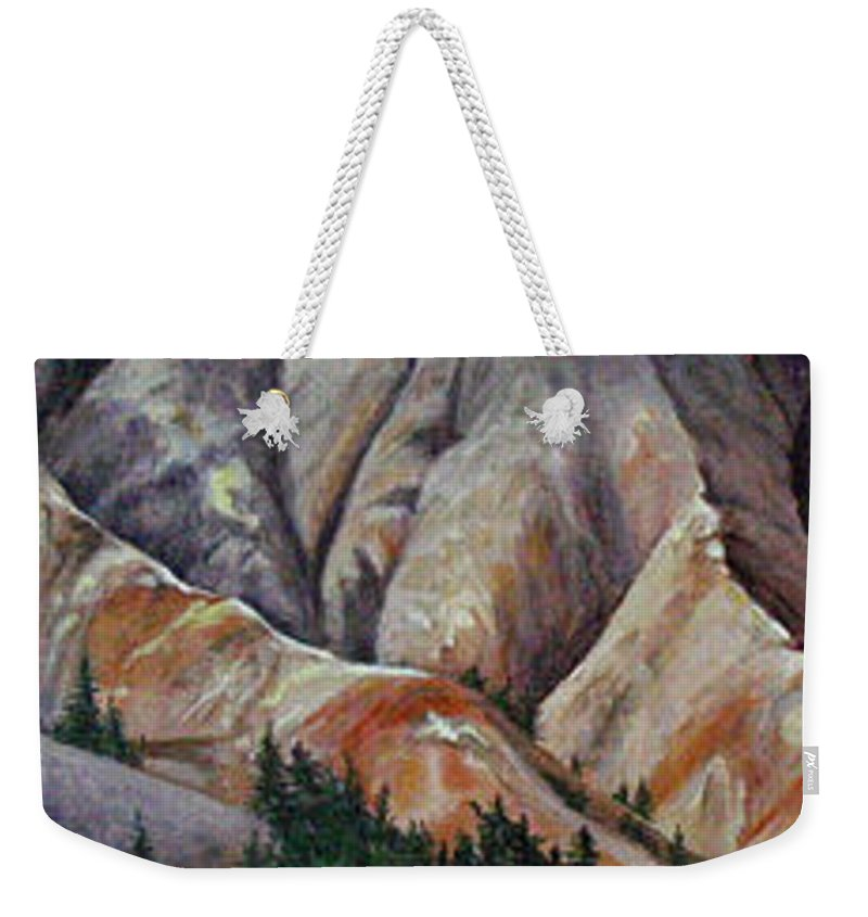 Mountains Weekender Tote Bag featuring the painting Marble Ridge by Elaine Booth-Kallweit