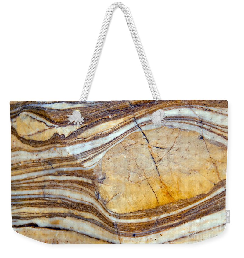 Mosaic Canyon Death Valley National Park California Parks Polished Rock Streak Streaks Crack Cracks Mineral Minerals Abstract Abstracts Odds And Ends Weekender Tote Bag featuring the photograph Marbled by Bob Phillips