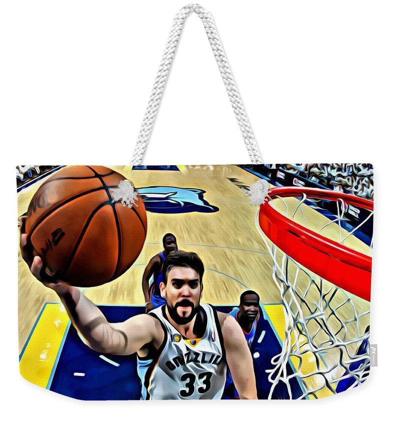 Nba Weekender Tote Bag featuring the painting Marc Gasol by Florian Rodarte