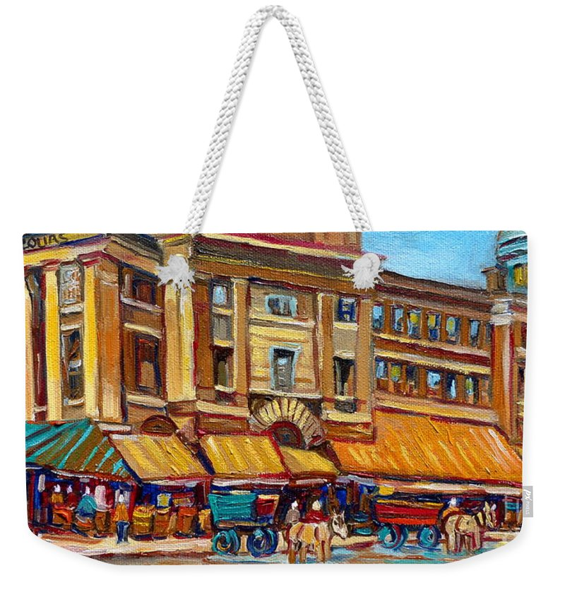 Montreal Art Weekender Tote Bag featuring the painting Marche Bonsecours Old Montreal by Carole Spandau