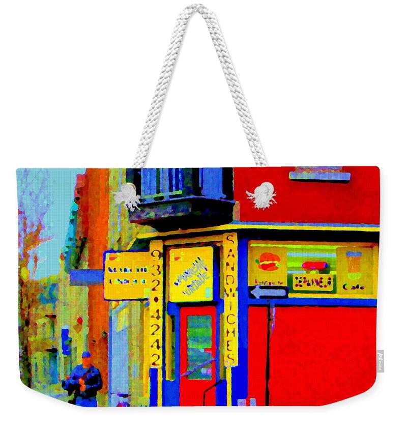 St Henri Street Scenes Weekender Tote Bag featuring the painting Marche Unique Cafe Sandwich Depanneur Rue St. Jacques St. Henri Street Scenes Carole Spandau by Carole Spandau