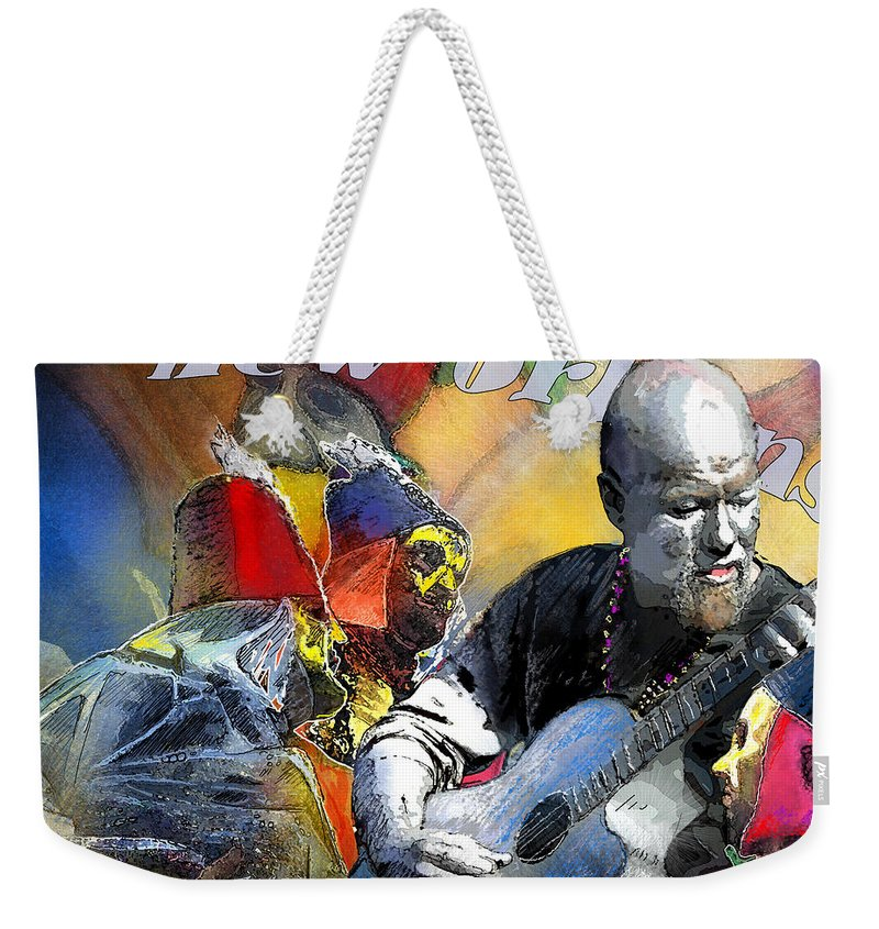 Mardi Gras Weekender Tote Bag featuring the painting Mardi-gras 2010 In New Orleans 01 by Miki De Goodaboom