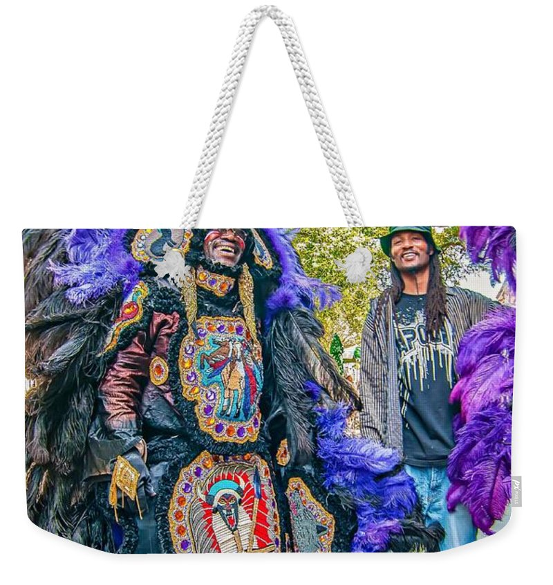 Mardi Gras Indians Weekender Tote Bag featuring the photograph Mardi Gras Indian by Steve Harrington