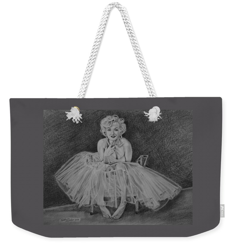Marilyn Weekender Tote Bag featuring the drawing Marilyn by Cynthia Snider