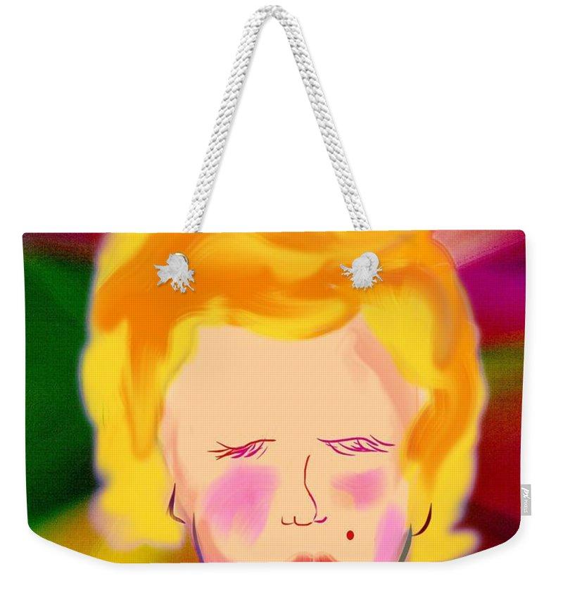 Marilyn Monroe Weekender Tote Bag featuring the digital art Marilyn Gets Juiced by Frank Bright