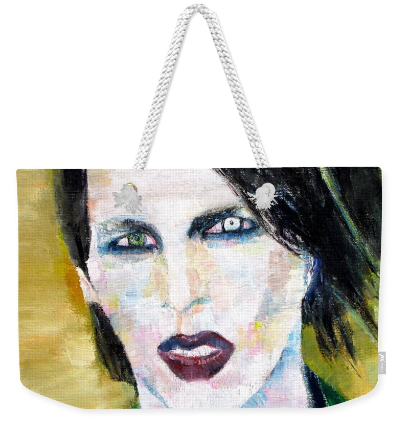 Marilyn Manson Weekender Tote Bag featuring the painting Marilyn Manson Oil Portrait by Fabrizio Cassetta