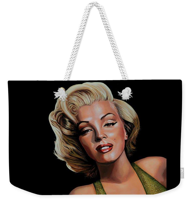 Marilyn Monroe Weekender Tote Bag featuring the painting Marilyn Monroe 2 by Paul Meijering