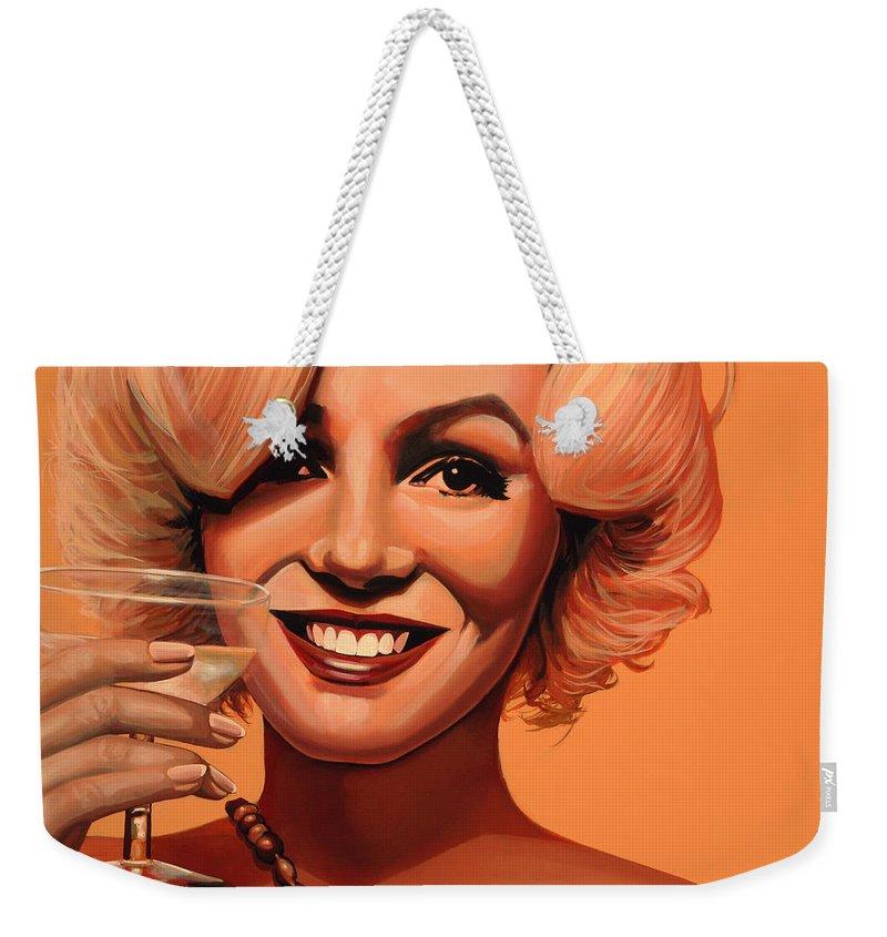 Marilyn Monroe Weekender Tote Bag featuring the painting Marilyn Monroe 5 by Paul Meijering
