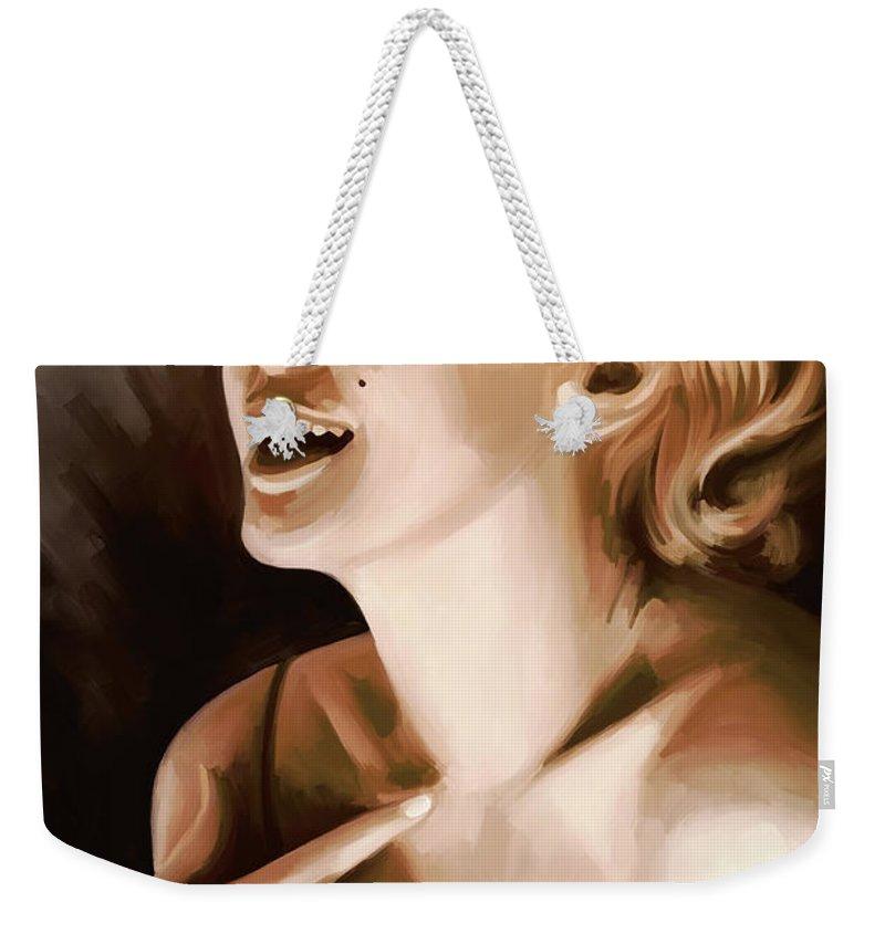 Marilyn Monroe Paintings Weekender Tote Bag featuring the painting Marilyn Monroe Artwork 1 by Sheraz A