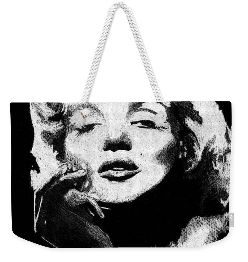 Marilyn Monroe Weekender Tote Bag featuring the painting Marilyn Monroe by Brett Winn