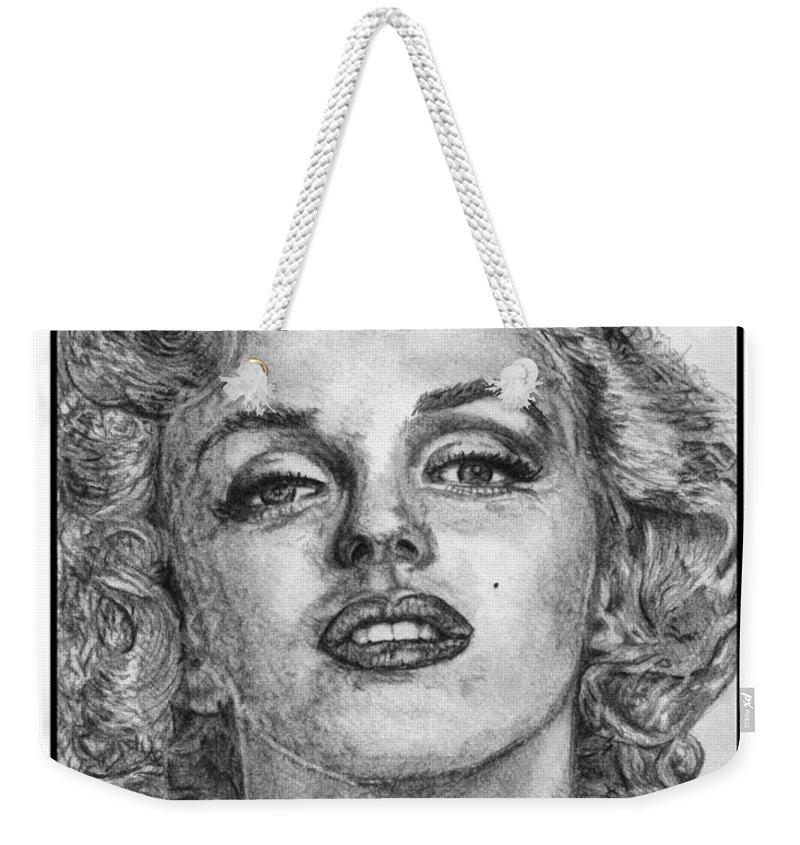 Marilyn Weekender Tote Bag featuring the drawing Marilyn Monroe by J McCombie