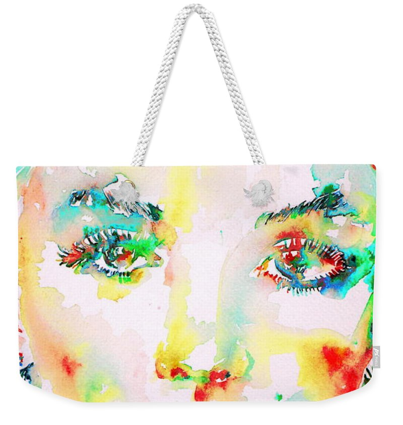 Marilyn Weekender Tote Bag featuring the painting Marilyn Monroe Portrait.5 by Fabrizio Cassetta