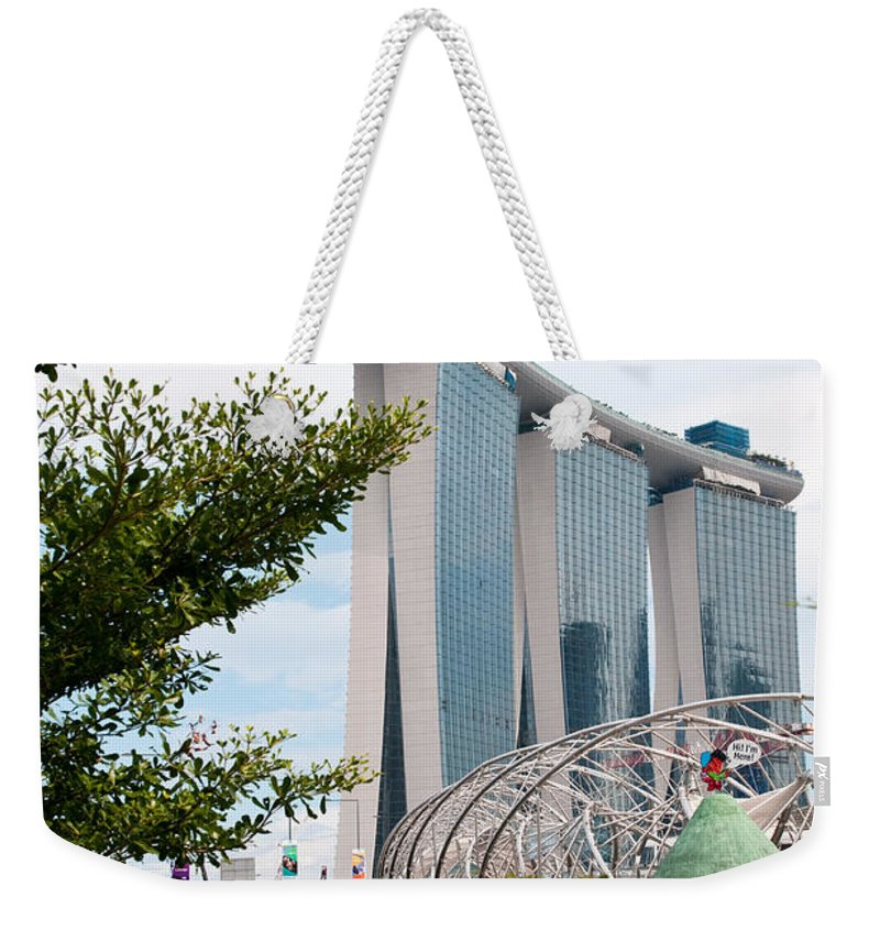 Singapore Weekender Tote Bag featuring the photograph Marina Bay Sands Hotel 02 by Rick Piper Photography