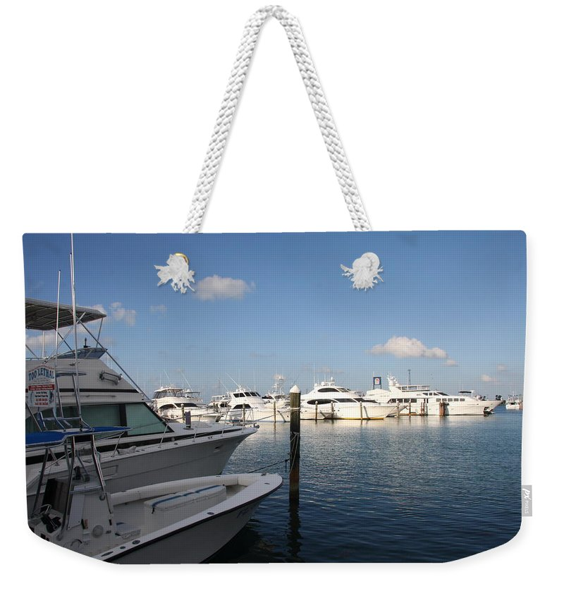 Harbor Weekender Tote Bag featuring the photograph Marina Key West - Harbored Fun by Christiane Schulze Art And Photography