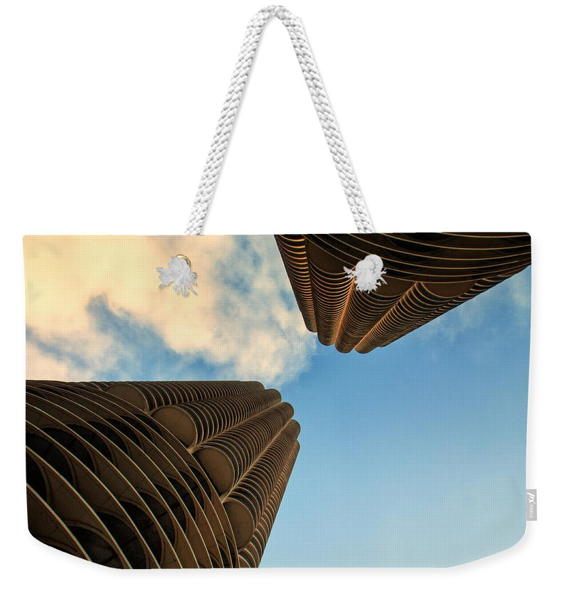 Marina Towers Weekender Tote Bag featuring the photograph Marina Towers by Lauri Novak