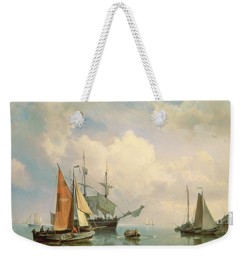 Century Weekender Tote Bag featuring the painting Marine by Johannes Hermanus Koekkoek