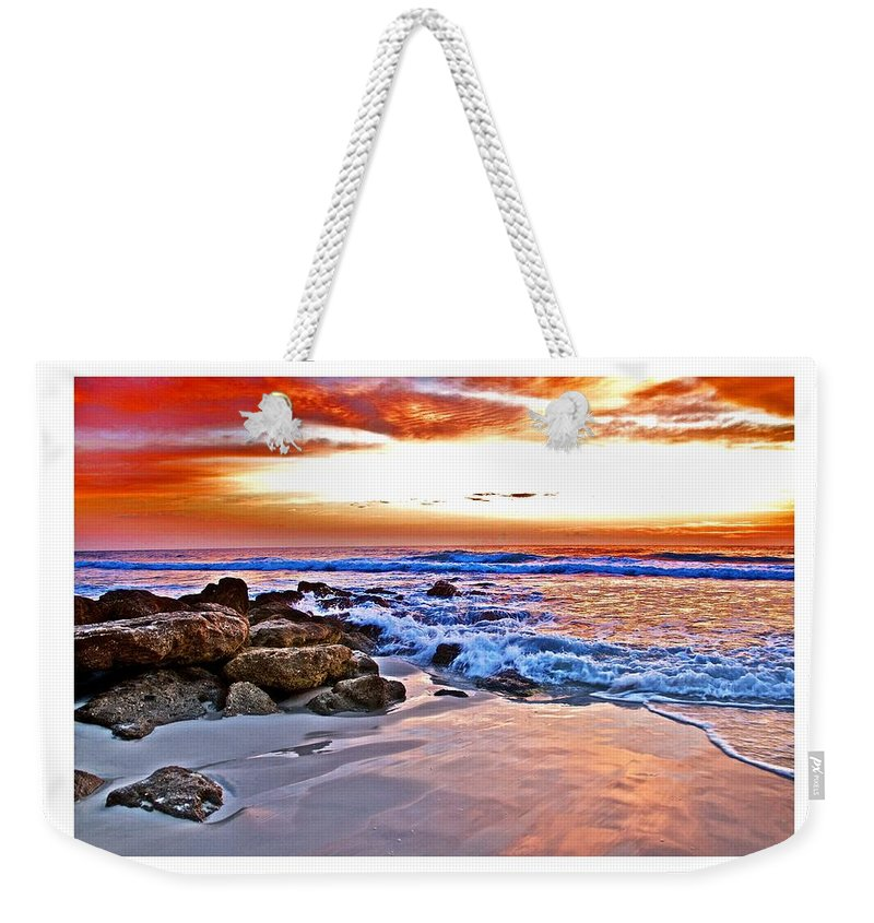 Sunrise Weekender Tote Bag featuring the photograph Marineland Sunrise by Alice Gipson