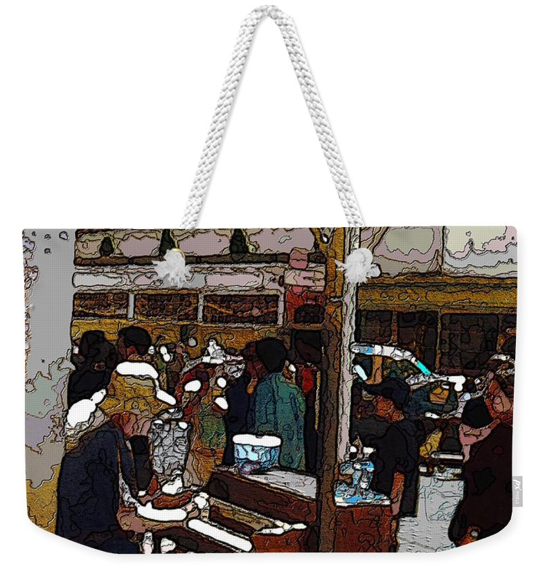Market Weekender Tote Bag featuring the digital art Market Busker 10 by Tim Allen