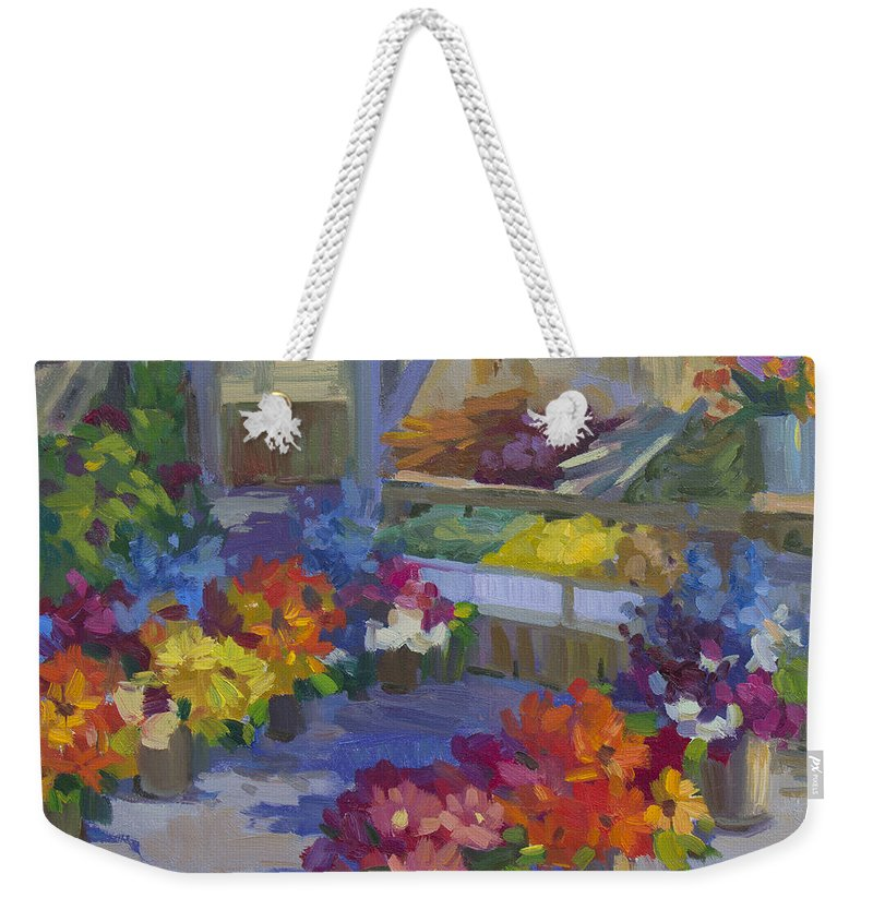 Flower Market Weekender Tote Bag featuring the painting Market Day by Diane McClary