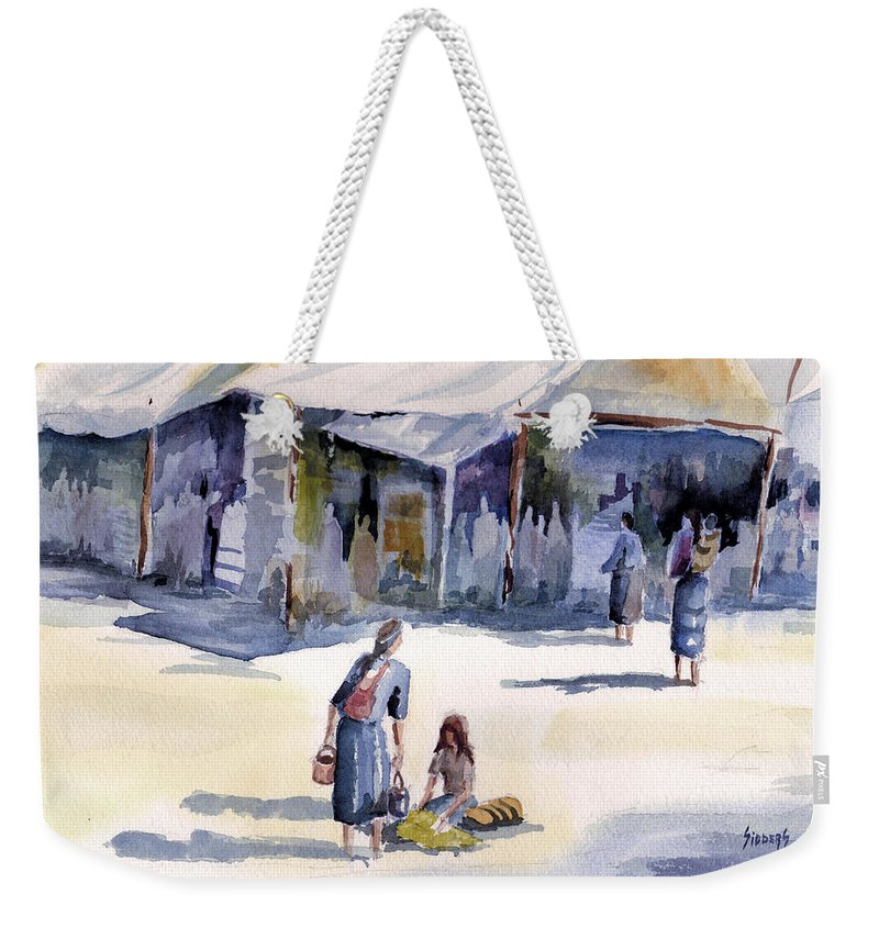 Tent Weekender Tote Bag featuring the painting Market Day by Sam Sidders