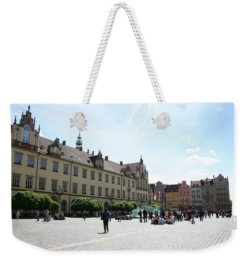 Market Place Weekender Tote Bag featuring the photograph Market Place Wroclaw by Christiane Schulze Art And Photography