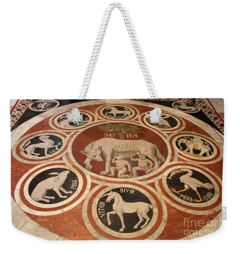 Floor Weekender Tote Bag featuring the photograph Marple Floor - Cathedral Siena by Christiane Schulze Art And Photography