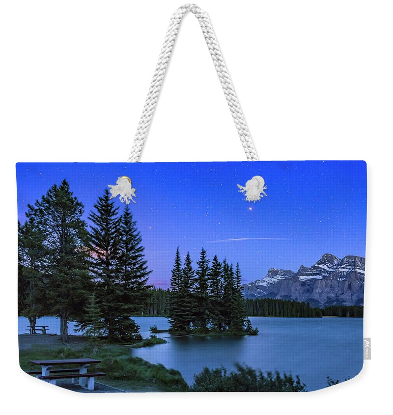 Banff Weekender Tote Bag featuring the photograph Mars Over Mt. Rundle by Alan Dyer