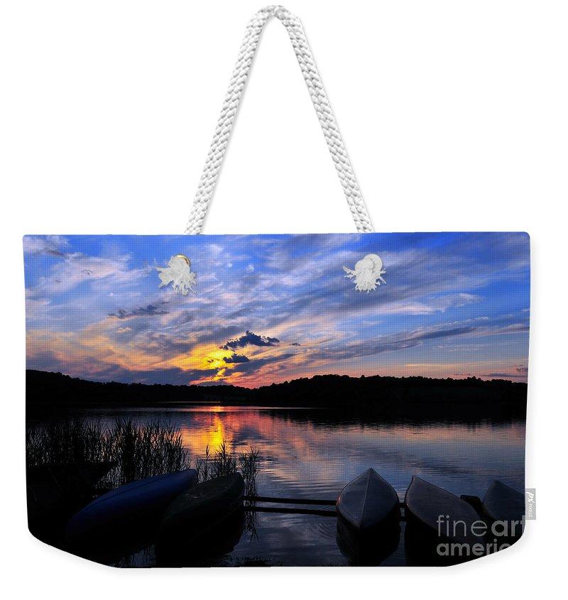 Marsh Creek State Park Weekender Tote Bag featuring the photograph Marsh Creek Sunset by Terri Winkler