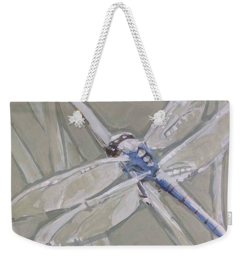 Dragonfly Weekender Tote Bag featuring the painting Marsh Dragonfly by Mary Hubley